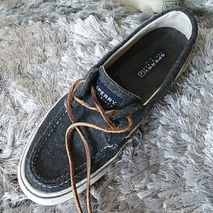 Sperry mens top sider charcoal gray boat shoes